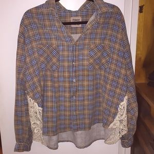 LF plaid button down with crochet detail